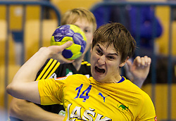 Sebastian Skube of Celje during handball match between RK Celje Pivovarna Lasko and IK Savehof (SWE) in 3rd Round of Group B of EHF Champions League 2012/13 on October 13, 2012 in Arena Zlatorog, Celje, Slovenia. (Photo By Vid Ponikvar / Sportida)