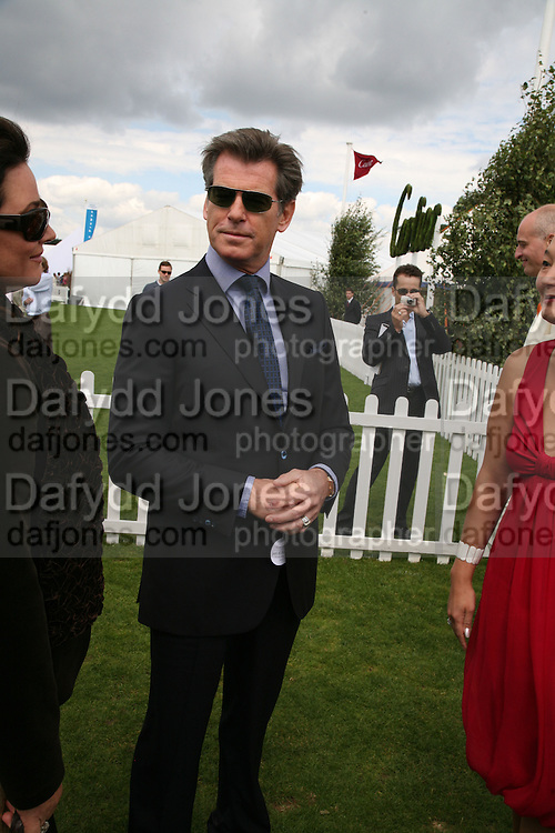 Pierce Brosnan, Cartier International Polo. Guards Polo Club. Windsor Great Park. 29 July 2007.  -DO NOT ARCHIVE-© Copyright Photograph by Dafydd Jones. 248 Clapham Rd. London SW9 0PZ. Tel 0207 820 0771. www.dafjones.com.