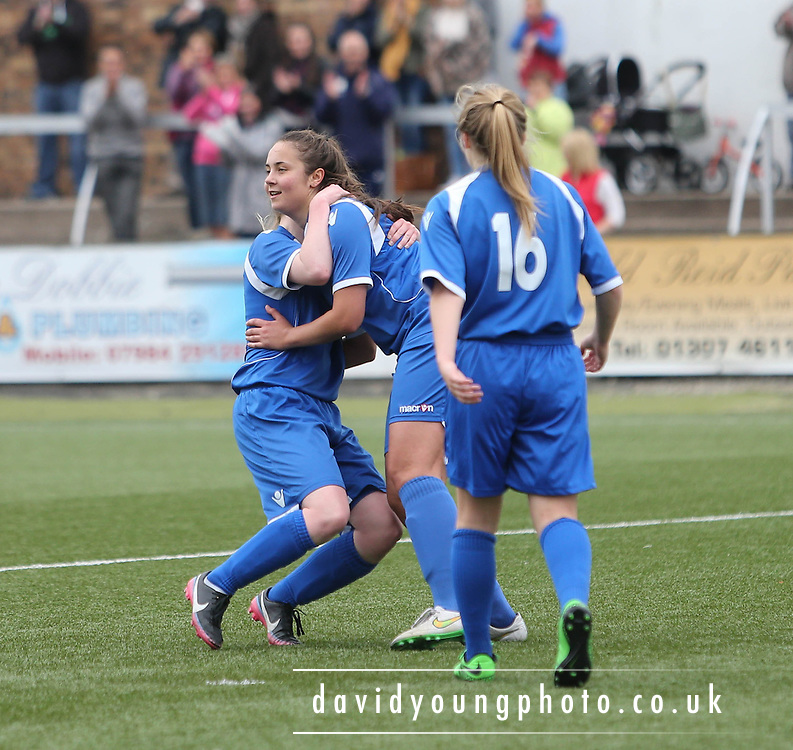 Keira Johnstone (centre) is congratulated after scoring Farmington's fifth goal  - Forfar Farmington v Hearts - Scottish Womens' Premier League at Station Park<br /> <br /> <br />  - &copy; David Young - www.davidyoungphoto.co.uk - email: davidyoungphoto@gmail.com
