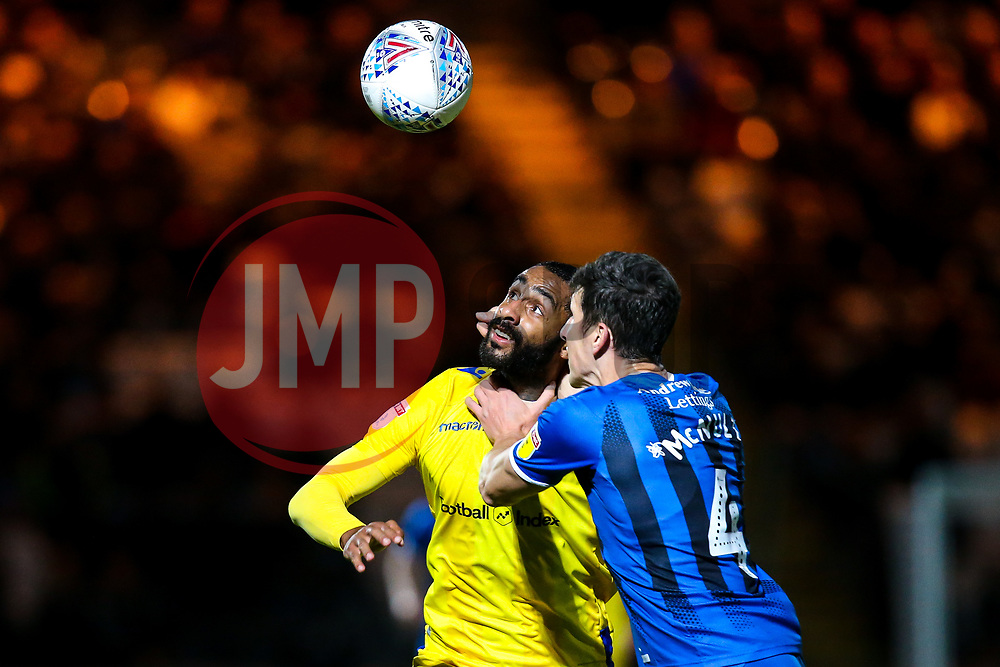 Stefan Payne of Bristol Rovers challenges Jim McNulty of Rochdale - Mandatory by-line: Robbie Stephenson/JMP - 02/10/2018 - FOOTBALL - Crown Oil Arena - Rochdale, England - Rochdale v Bristol Rovers - Sky Bet League One