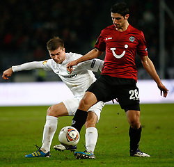 15.12.2011, AWD-Arena, Hannover, GER, UEFA EL,Gruppe B, Hannover 96 (GER) vs FC Vorskla Poltava (UKR), im Bild Andriy Oberemko (Vorskla #77) und Lars Stindl (Hannover #28) // during UEFA Europa League group B match between Hannover 96 (GER) and FC Vorskla Poltava (UKR) at AWD-Arena Stadium, Hannover, Germany on 15/12/2011. EXPA Pictures © 2011, PhotoCredit: EXPA/ nph/ Schrader..***** ATTENTION - OUT OF GER, CRO *****