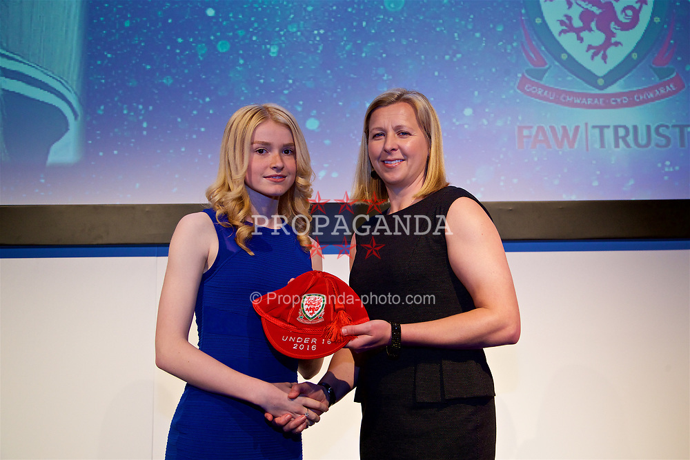 NEWPORT, WALES - Saturday, May 27, 2017: Lucy Atwood receives her Under-16 Wales cap from Wales women's team manager Jayne Ludlow at the Celtic Manor Resort. (Pic by David Rawcliffe/Propaganda)