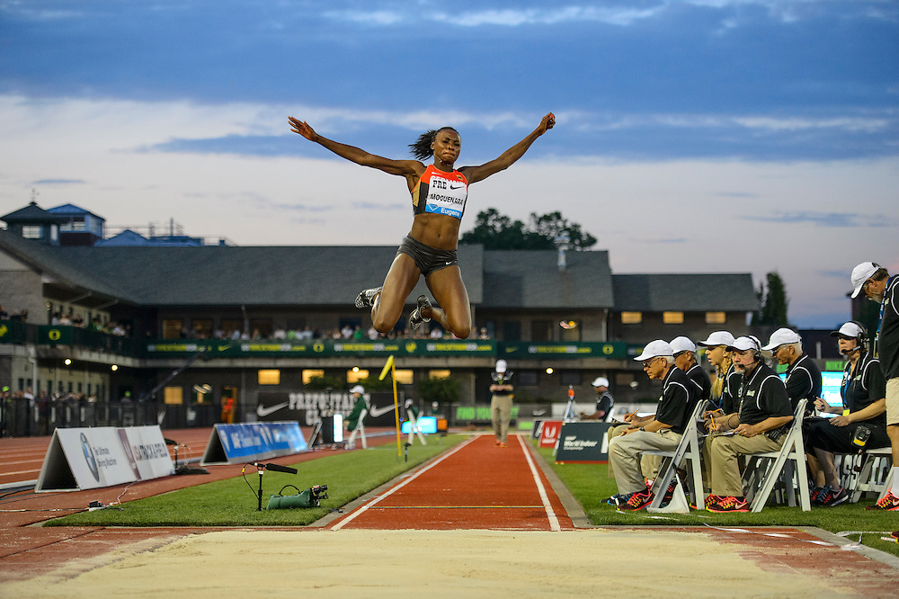 The Prefontaine Classic-2015-Long jumper, Sosthene Moguenara, of Germany.
