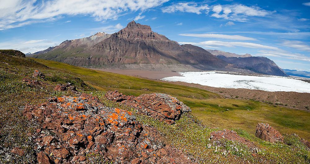 View of Castle Mountain and the tip of the Russell Glacier in the Skolai Pass area of Wrangell-St. Elias National Park, Alaska.