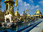 "13 DECEMBER 2017 - BANGKOK, THAILAND:  Statuary of mythical beasts including a ""Kraisonrajasiha,"" a Lion-King with tufts of hair on its feet on the east side of the Royal Crematorium on Sanam Luang in Bangkok. The crematorium was used for the funeral of Bhumibol Adulyadej, the Late King of Thailand. He was cremated on 26 October 2017. The crematorium is open to visitors until 31 December 2017. It will be torn down early in 2018. More than 3 million people have visited the crematorium since it opened to the public after the cremation of the King.    PHOTO BY JACK KURTZ"