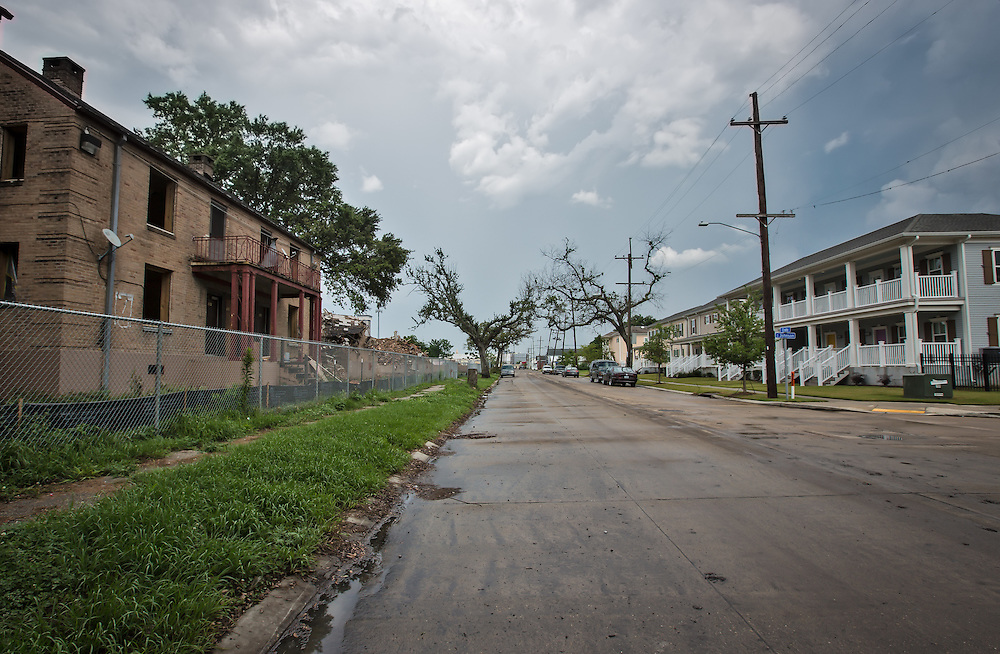 New Orleans LA, May, 21, 2015, Storm clouds over the B.W. Cooper Apartments, know as the Callipoe projects. The projects have been closed since Hurricane Katrina. The blighted housing development is being demolished to to be replaced with  new middle income apartements.