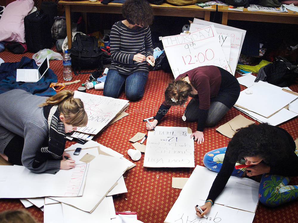 LSE students preparing for the demo against the education budget cuts proposed by the government, London, UK.