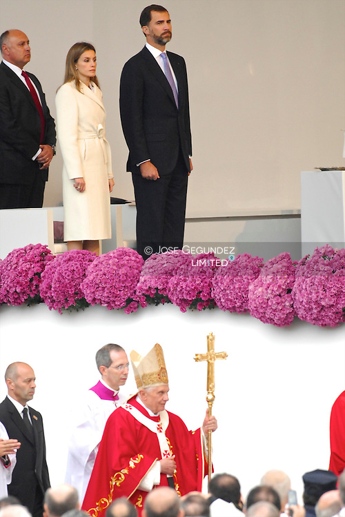 Prince Felipe of Spain and Princess Letizia of Spain attend an open-air mass celebrated by Pope Benedict XVI in front of Santiago de Compostela Cathedral on Obradoiro square on November 6, 2010 in Santiago de Compostela, Spain. The Pope is on a two-day visit to Spain