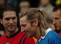 Fotball<br /> Premier League England 2004/2005<br /> 18.12.2004<br /> Foto: SBI/Digitalsport<br /> NORWAY ONLY<br /> <br /> Birmingham City v West Bromwich Albion<br /> Barclays Premiership. 18/12/2004<br /> <br /> Birmingham City's Robbie Savage (R) shares a joke with his Welsh compatriot Andy Johnson at West Brom amid speculation over his future at the Birmingham