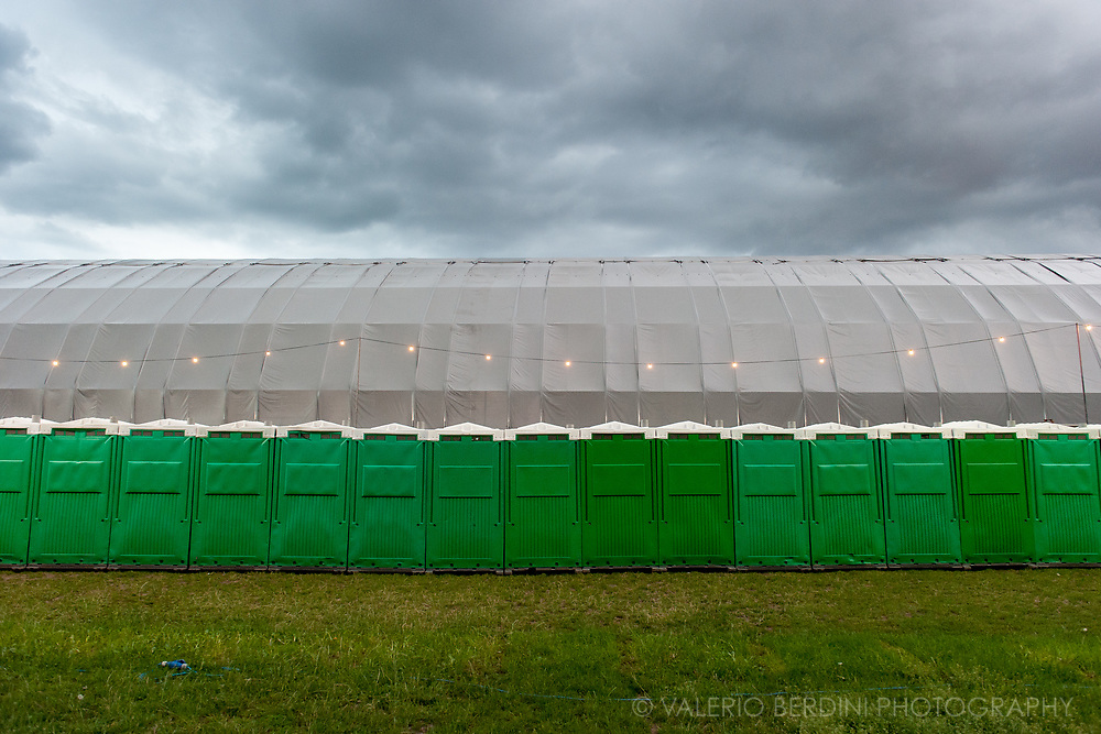 Toilets and clouds at Field Day london on 3 June 2017