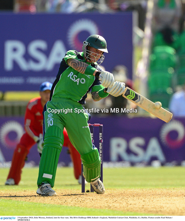 3 September 2013; John Mooney, Ireland, bats for four runs. The RSA Challenge ODI, Ireland v England, Malahide Cricket Club, Malahide, Co. Dublin. Picture credit: Paul Mohan / SPORTSFILE