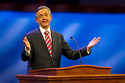 Pastor Robert Jeffress introduces Texas Gov. Rick Perry at First Baptist Dallas on Sunday, April 7, 2013. (Cooper Neill/The Dallas Morning News)