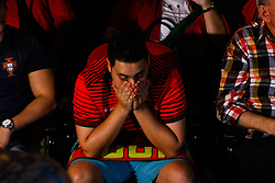 June 30, 2018 - SãO Paulo, Brazil - SÃO PAULO, SP - 30.06.2018: PORTUGUESES ASSISTEM JOGO EM SÃO PAULO - In the photo, fans bemoan the defeat of Portugal's onal tal team for the Uruguay team, who leave the 2018 World Cup. Hundreds of Portuguese people gather at the Casa de Portugal in Liberdade, to follow the match valid for the last 16 of the 2018 World Cup between Portugal and Uruguay, which takes place in Russia on the afternoon of Saturday (30) (Credit Image: © Aloisio Mauricio/Fotoarena via ZUMA Press)