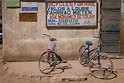 Two rental bikes in the village of Gezirat on the West Bank of Luxor, Nile Valley, Egypt.