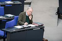 14 FEB 2019, BERLIN/GERMANY:<br /> Alexander Gauland, MdB, AFD Fraktionsvorsitzender, Abstimmung, Bundestagsdebatte, Plenum, Deutscher Bundestag<br /> IMAGE: 20190214-01-059<br /> KEYWORDS: Bundestag, Debatte