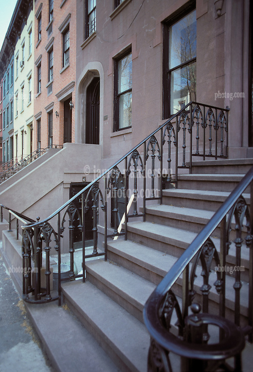 Empty Stoop of Brownstone Row Homes, Brooklyn, New York City, February 25, 1976