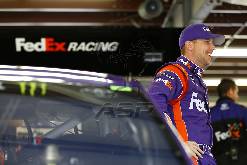 July 14, 2017 - Loudon, NH, USA: Denny Hamlin (11)  hangs out in the garage during practice for the Overton's 301 at New Hampshire Motor Speedway in Loudon, NH.