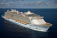 The launch of Royal Caribbean International's Oasis of the Seas, the worlds largest cruise ship..Aerial views off Miami.