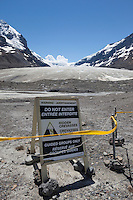 Hidden Crevasses Warning Sign at Athabasca Glacier, Jasper National Park, A.B., Canada