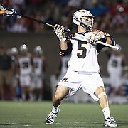 Mike Manley #5 of the Rochester Rattlers prepares to throw the ball during the game at Harvard Stadium on August 9, 2014 in Boston, Massachusetts. (Photo by Elan Kawesch)