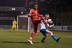 BRISTOL, ENGLAND - Thursday, January 15, 2009: Liverpool's David Amoo in action against Bristol Rovers' Mark Cooper during the FA Youth Cup match at the Memorial Stadium. (Mandatory credit: David Rawcliffe/Propaganda)