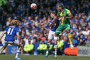 Cameron Jerome (Norwich City) wins the header during the Barclays Premier League match between Everton and Norwich City at Goodison Park, Liverpool, England on 15 May 2016. Photo by Mark P Doherty.
