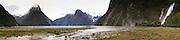 Panoramic View of Milford Sound (Piopiotahi) with Bowen Falls, Fiordland National Park, New Zealand