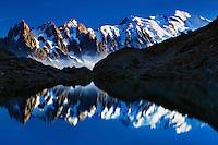 Mountain impression Lac Blanc with Aiguilles de Chamonix, Mont Blanc - Europe, France, Haute Savoie, Aiguilles Rouges, Chamonix, Lac Blanc - Afternoon - September 2008