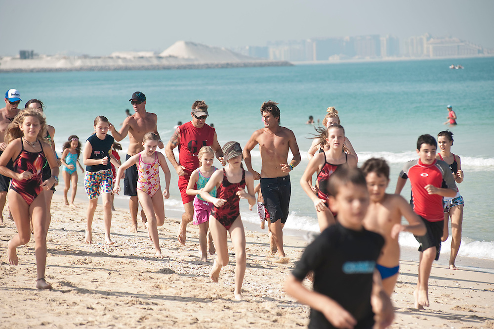 Bondi Rescue Guards train children in sea rescue in Dubai on Saturday, Oct30, 2010. Lifeguard featured: Anthony Carroll, AKA Harries
