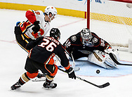 Calgary Flames forward Matthew Tkachuk (L TOP) tries to get a shot in on Anaheim Ducks goalie John Gibson (R) during a 2017-2018 NHL hockey game in Anaheim, California, the United States, on Oct. 9, 2017.  Calgary Flames won 2-0. (Xinhua/Zhao Hanrong)