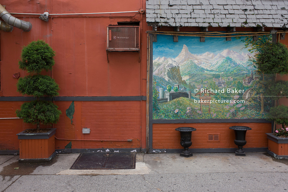 German fantasy landscape, painted on the side of a German bakery in New York City.