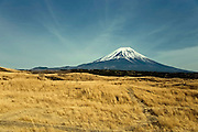 Mt Fuji seen from a section of a walk that takes trekkers through parts of the Asagiri Plateau in Shizuoka Prefecture Japan on 22 March 2013.  Photographer: Robert Gilhooly