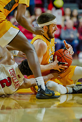 NORMAL, IL - February 05: Zach Copeland and John Kiser scramble on the floor for a loose ball during a college basketball game between the ISU Redbirds and the Valparaiso Crusaders on February 05 2019 at Redbird Arena in Normal, IL. (Photo by Alan Look)