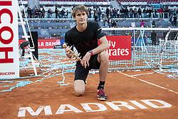 May 13, 2018 - Madrid, Spain - German Alexander Zverev during Finals of Mutua Madrid Open at Caja Magica in Madrid, Spain. May 13, 2018. (Credit Image: © Coolmedia/NurPhoto via ZUMA Press)