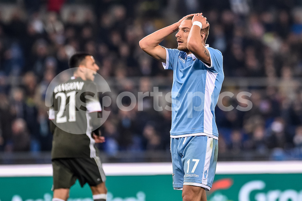 Ciro Immobile of Lazio rues a missed chance during the Serie A match between Lazio and AC Milan at Stadio Olimpico, Rome, Italy on 13 February 2017. Photo by Giuseppe Maffia.