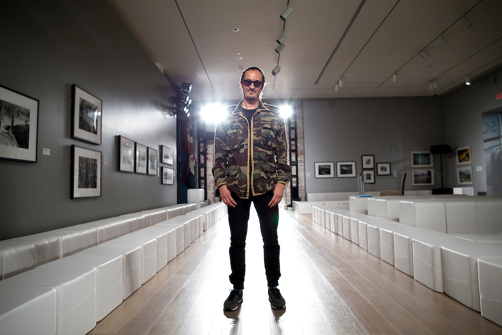 SAVANNAH, GA - MAY 16, 2015:  DJ/sound designer Sebastien Perrin listens on the runway to the soundtrack for the Savannah College of Art and Design fashion show in Savannah, Ga. CREDIT: Stephen B. Morton for The New York Times