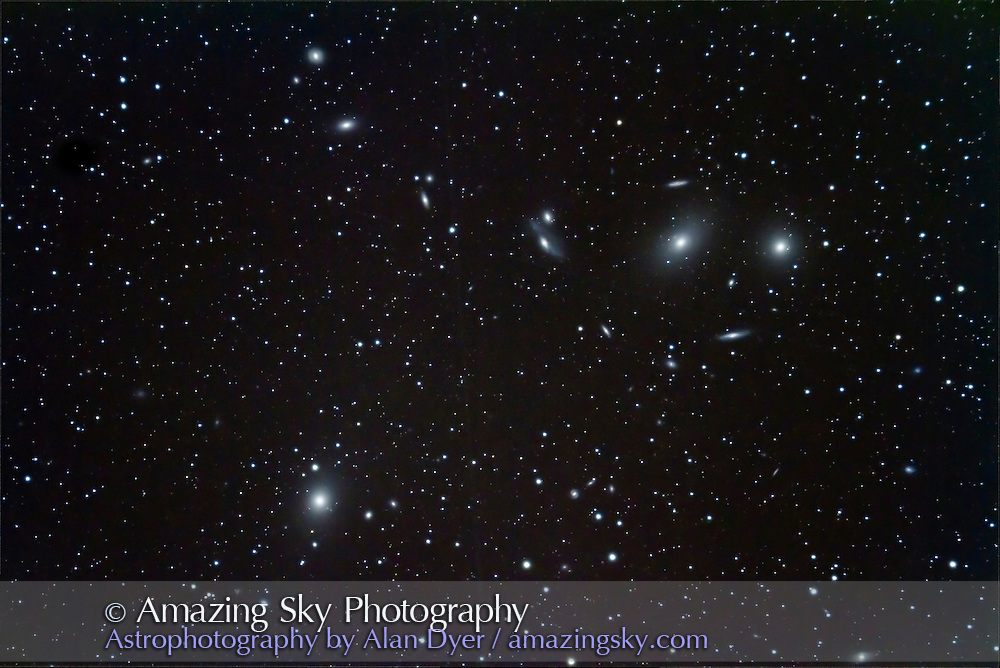 Markarian's Chain area of the Coma-Virgo galaxy cluster, with M84 and M86 at top and M87 at bottom left. Includes the Eyes, NGC 4435 and 4438. This is a stack of 6 x 5 minute exposures with the 92mm TMB apo refractor and Borg 0.85x reducer/flattener for f/4.5, and Canon 7D at ISO 800. Taken April 24, 2011.