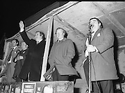 Image of Fianna Fáil leader Charles Haughey touring West Cork during his 1982 election campaign...04/02/1982.02/04/82.4th February 1982..Taoiseach in Waiting:..Charles Haughey waits as he is introduced from a public platform to a public.ready for change.