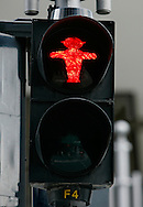 GERMANY - BERLIN - Typical traffic light in former East Berlin , Ampelma?nnchen.  PHOTO  GERRIT DE HEUS