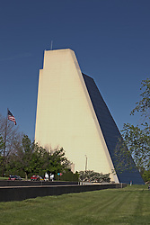 13 May 2013:   The Pyramids in north Indianapolis are home to many businesses and to Indianapolis Tech.  There are 3 pyramid buildings.  The original development plans called for more, but the length of time to put up the first three and cost over-runs prevented the others from being build. Indianapolis Indiana..<br />
