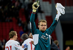 KAZAN, RUSSIA - Thursday, November 5, 2015: Liverpool's goalkeeper Simon Mignolet celebrates after the 1-0 victory over Rubin Kazan during the UEFA Europa League Group Stage Group B match at the Kazan Arena. (Pic by Oleg Nikishin/Propaganda)