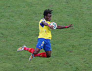 Juan Carlos Paredes of Ecuador chests down a high ball during the 2014 FIFA World Cup Group E match at Maracana Stadium, Rio de Janeiro<br /> Picture by Andrew Tobin/Focus Images Ltd +44 7710 761829<br /> 25/06/2014