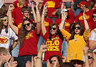 October 01, 2011: Iowa State students cheer before the start of the game between the Iowa State Cyclones and the Texas Longhorns at Jack Trice Stadium in Ames, Iowa on Saturday, October 1, 2011. Texas defeated Iowa State 37-14.