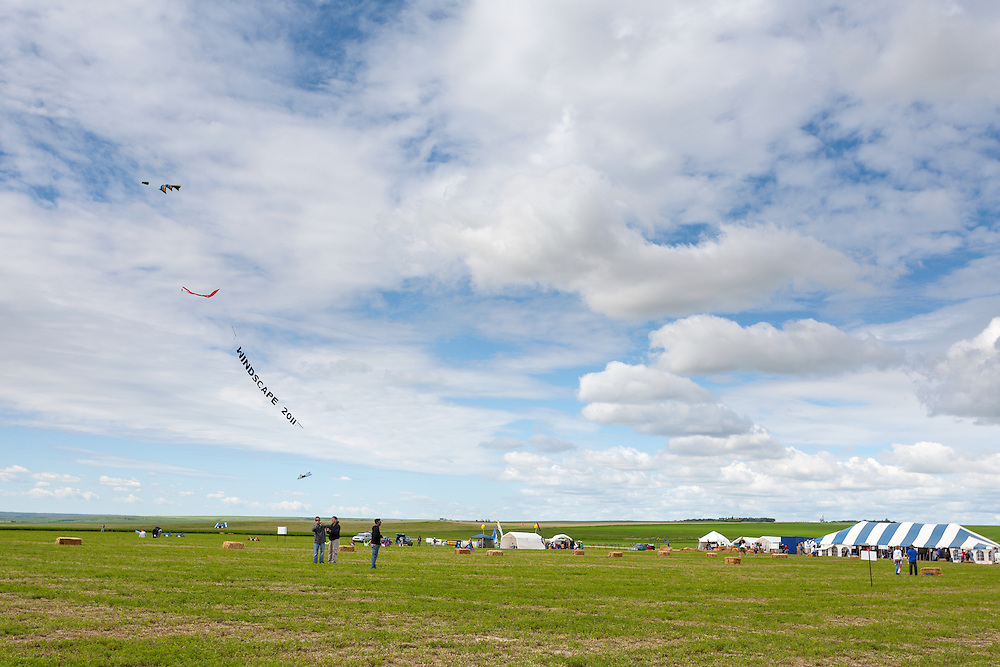 Kites and the Windscape banner. Windscape Kite Festival, Swift Current, Saskatchewan.