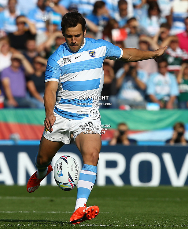 LEICESTER, ENGLAND - OCTOBER 04: Nicolas Sanchez of Argentina during the Rugby World Cup 2015 Pool C match between Argentina and Tonga at Leicester City Stadium on October 04, 2015 in Leicester, England. (Photo by Steve Haag/Gallo Images)
