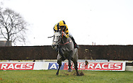 Plumpton, UK. 12th December 2016. <br /> Jockey Mr O Wedmore manages to rescue  Grayhawk from disaster  during the SIS Novices&acute; Chase<br /> &copy; Telephoto Images / Alamy Live News