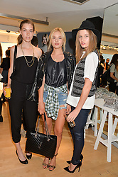 Left to right, ELIZA HARTMANN, PAIGE REIFLER and ADRIANNA BACH at the French Connection #NeverMissATrick Launch Party held at French Connection, 396 Oxford Street, London on 23rd July 2014.