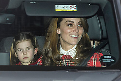 © Licensed to London News Pictures. 18/12/2019. London, UK. PRINCESS CHARLOTTE and CATHERINE DUCHESS OF CAMBRIDGE . Members of the Royal Family seen leaving Buckingham Palace in West London after attending the Queen's annual Christmas lunch. Photo credit: Ben Cawthra/LNP