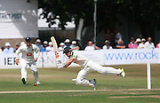 James Taylor takes a tumble off the bowling of Matt Hobden during the LV County Championship Div 1 match between Sussex County Cricket Club and Nottinghamshire County Cricket Club at Horsham Cricket Club, Horsham, United Kingdom on 19 July 2015. Photo by Bennett Dean.