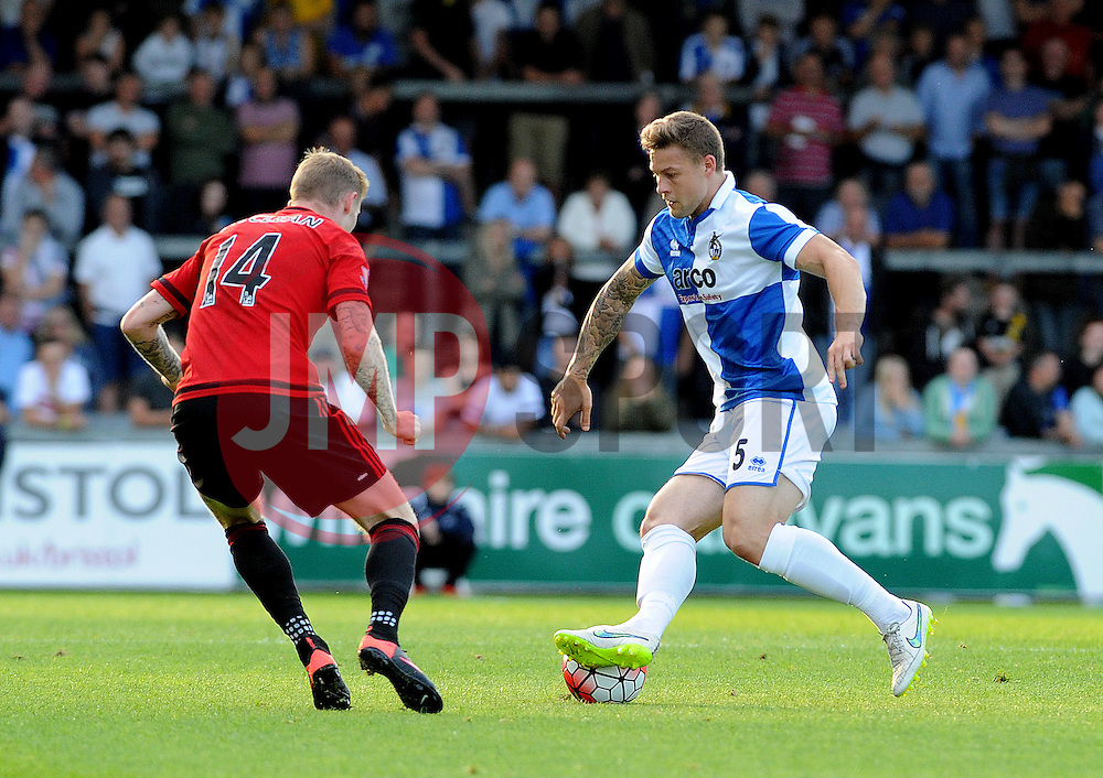 James Clarke of Bristol Rovers is challenged by James McClean of West Brom - Mandatory by-line: Neil Brookman/JMP - 07966386802 - 31/07/2015 - SPORT - FOOTBALL - Bristol,England - Memorial Stadium - Bristol Rovers v West Brom - Pre-Season Friendly
